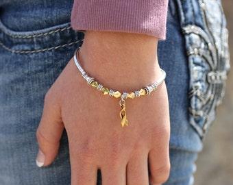 Gold Ribbon Awareness Charm Bracelet: Childhood Cancer, COPD, Neuroblastoma, Hearing Disorders, Meniere's Disease // survivor, hope, support