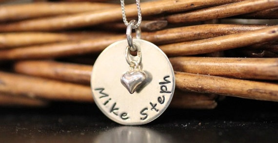 Personalized Couples Necklace with heart charm: Handstamped Sterling Pendant for couples, wedding jewelry, Valentine's Day gift, Anniversary