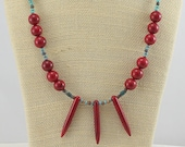 Red and Turquoise Necklace.  Southwestern Jewelry.  Gemstone Necklace.