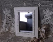 Shabby French country small wall mirror, shabby white, creamy white, distressed mirror