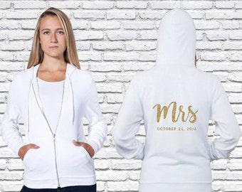 Mrs Custom Zip Up Hoodie, Bride gift, Bride Sweatshirt, Future Mrs, American Apparel Hoodie