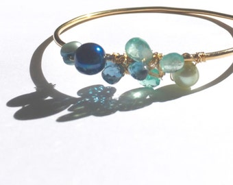 Teal apatite, Londonblue topaz Gold Bangle, Large Bangle, Etsy jewelry, Mermaid colors, Lilyb444,