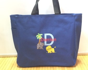 Personalized Baby Kids Jungle Animals Lion Tote Toy Diaper Bag