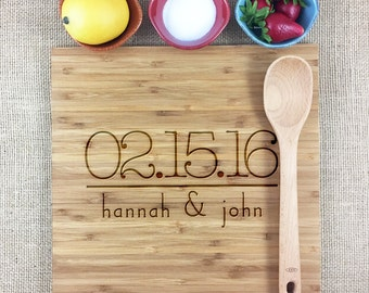 Personalized Engraved Wedding Cutting Board, Custom Wedding Date & Names, Anniversary Gift, Bamboo Wedding Cutting Board. Bridal Shower Gift