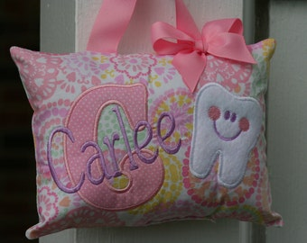 Tooth Fairy Pillow for Girls Personalized Tooth Chart Pink Purple Polka Dot Mongoram