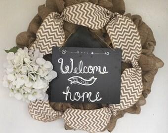 Welcome Home Burlap Wreath