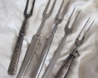 5 Vintage Steel Meat Carving Forks Lot Assorted