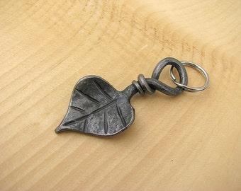 Forged Leaf Key Chain