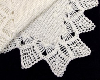 Knitted Baby Blanket - White Mohair, Christening Blanket, Lacy crochet Baby Blanket, Knitted Baby Afghan Embroidered Flowers White Blanket