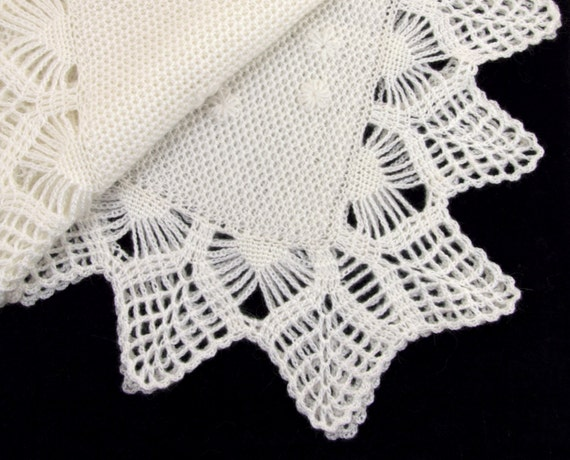 Knitted Baby Blanket White Mohair Christening Blanket Lacy