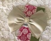 Platinum Satin Hair Bow,Pear Rhinestone Center, Silver Flower Girl Hair Bow, Holiday Sparkle Hair Bow, Christmas Hair Bow, Pageant Bow