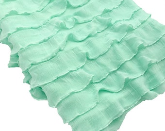 Mint Ruffle Fabric for Newborn Photo Prop - Ruffle Layering Wrap, 1 Inch Ruffle Wrap, Ruffle Baby Posing Wrap, Baby Shower Gift