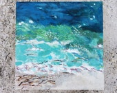 "Original Painting ""Water's Edge"" Acrylic Oil Pastel and Sand on Birch Wood Painting Panel Anna Maria Island Series"