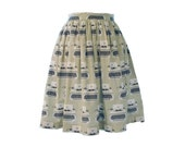 Typewriter Gathered Full Skirt Size Small Size 4 6 Ready to Ship