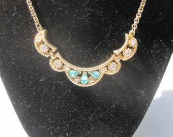 Blue and Clear Rhinestone Necklace