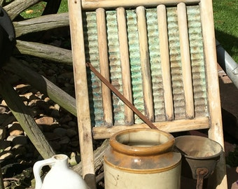 Lot of Primitive Items Including National Washboard Co. No. 801 Jug Crock and Melter Warmer