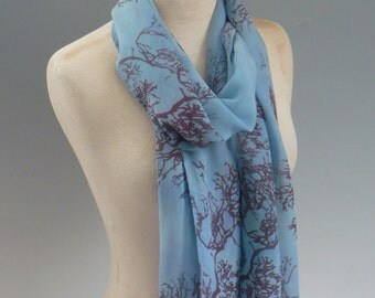 Blue Silk Scarf with Handprinted Tree Branches