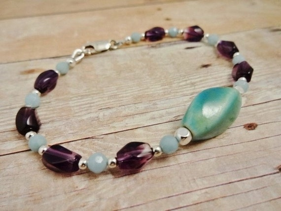 Amethyst & Amazonite Bracelet, Aqua and Purple Bracelet, Natural Gemstone Bracelet, Amethyst Jewelry, Amazonite Jewelry, Birthstone Jewelry