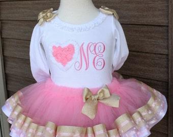 baby girls 1st birthday, valentines birthday, ONEderland with heart onesie, heart trim tutu