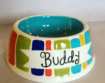 The Pampered Pet Small Stripes Dog Bowl or Cat Bowl--Customize with your pet's name!