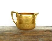 Stouffers Gold Encrusted Creamer Art Nouveau Gold Plated Cream Pitcher 1920s Elegant Dinnerware