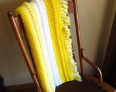 Afgan Hand Crocheted Yellow and White Crochet Throw, Baby Blanket Cottage Chic
