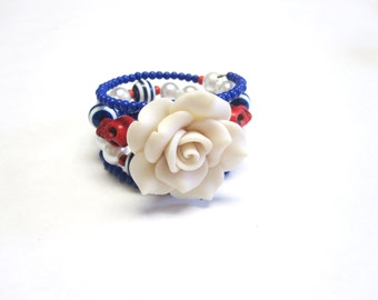Sugar Skull Bracelet Day of the Dead Jewelry Red White Blue