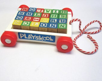 Playskool Wagon And Wooden Blocks Vintage Pull Toy ABC