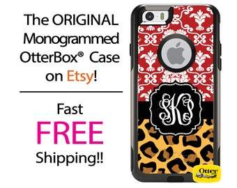 iPhone OtterBox Commuter Case for iPhone 7, 7 Plus, 6/6s, 6 Plus/6s Plus, 5/5s/SE, 5c Galaxy S7 S6 S5 Note 5 Monogrammed Damask Leopard Case