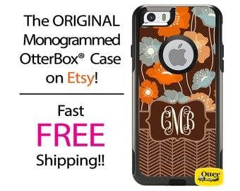 iPhone OtterBox Commuter Case for iPhone 7, 7 Plus, 6/6s, 6 Plus/6s Plus, 5/5s/SE, 5c Galaxy S7 S6 S5 Note 5 Monogrammed Floral Herringbone