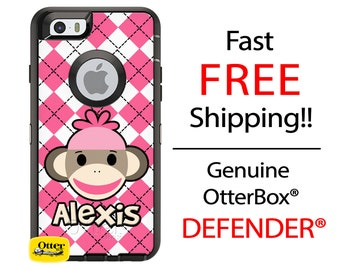 OTTERBOX DEFENDER iPhone 6 5 5S 5C 4/4S iPod Touch 5G Case Custom Pink Argyle Sock Money - Name Monogram Personalized ID