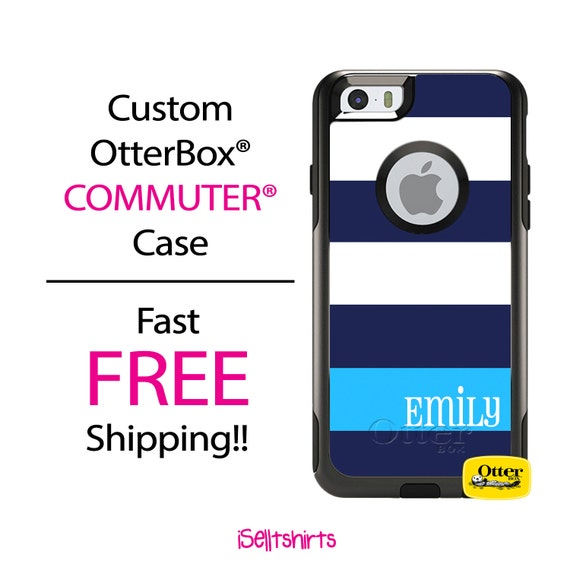 iPhone OtterBox Commuter Case for iPhone 7, 7 Plus, 6/6s, 6 Plus/6s Plus, 5/5s/SE, 5c Galaxy S7 S6 S5 Note 5 Personalized Wide Stripes Case