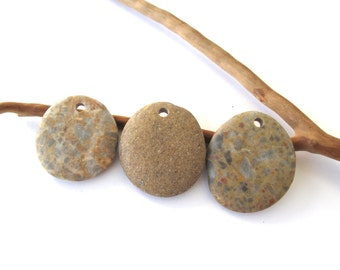 Rock Pendants Beach Pebble Beads Mediterranean Beach Stone River Stone Jewellery Making Supplies Natural Stone Pendants SMOOTH TRIO 28-34 mm