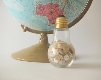 Vintage White Buttons in Light Bulb Jar