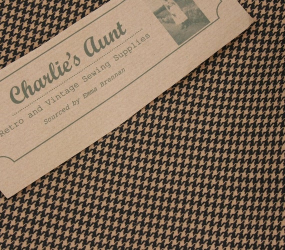 "English cotton moleskin fabric 3/4 yard of 60"" wide in camel with black dog tooth check print"