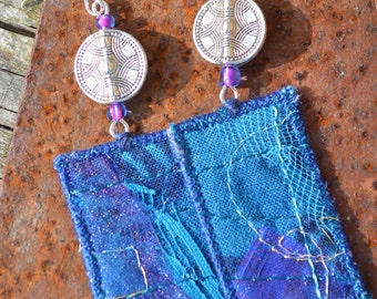 boho embroidered earrings, boho festival jewellery, hippie jewellery, textile art earrings, beaded earrings, upcycled jewelery, blue, oblong