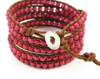 beaded wrap bracelet wrap bracelet beaded wrap pink boho wrap bracelet boho bracelet handmade bracelet wax rope wrap women wrap bracelet