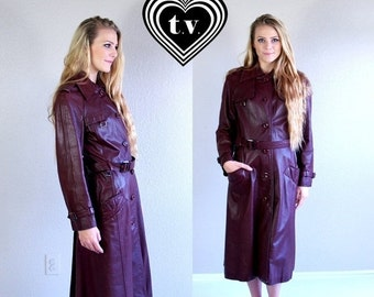 Sale vtg 80s Oxblood LEATHER military fitted TRENCH COAT Medium burgundy belted outerwear jacket boho hippie