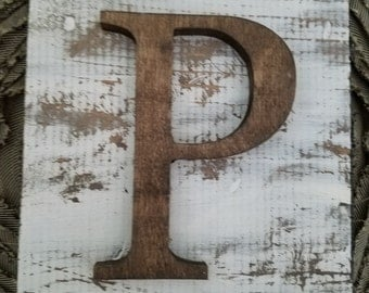 Farmhouse Style P Hanging Wood letter sign- Wall hanging letter READY TO SHIP P