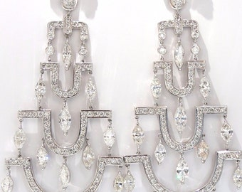 16.00ct natural diamonds deco long chandelier dangle earrings