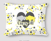 Crazy 4 U Buffalo Love Pillow Wedding Valentine's Pillow Bison Love Hand Sewn Zipper Fun Beautiful Pillow
