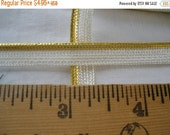 "Gold Metallic & White Piping Lip Cord Trim 5/16"" Edging mini Mixed Media Lamp Shades Crazy Quilts Pillows Lip Cord choose yards Lurex"