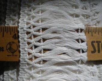 """Ivory White 2.25"""" wide Cotton Fringe trim retro BTY yards sewing crafts costume home decor off white fringe yardage"""