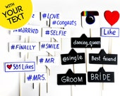 Photo booth Props - Wedding Insta Signs with YOUR CUSTOM TEXT - Mix of small black and white signs on sticks - Set of 18 photo booth signs