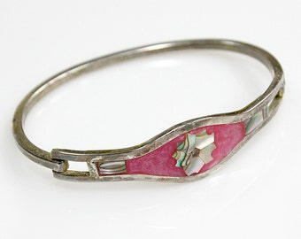 TAXCO Mexico Clamp Bracelet ~ Silverplated / Enamel / Abalone Inlay ~ Hippie / BOHO Fashion - Birthday Gift For Her - State Sale Jewelry