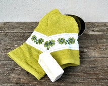 Bath towel set Hand Embroidered clovers fourleafs in soft olive green terry cotton  cross stitches hand towels rustic
