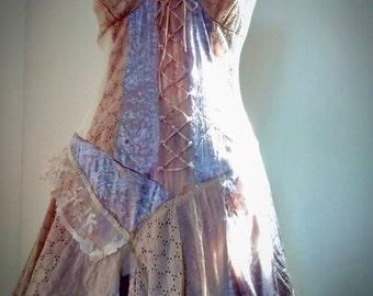 Upcycled vintage lace mori boho fairy dress UK size 10