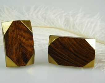 Mid Century Modern Wood Knob / Geometric Pull / Gold and Brown Stain Wood Cabinet Hardware / Unique / Drawer Pull / Limited Edition