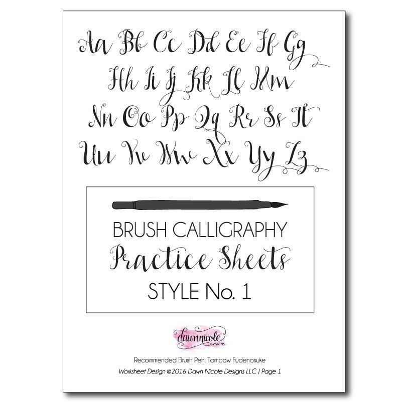 On sale brush calligraphy practice worksheets style