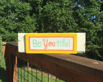 BeYOUtiful Girls Bedroom Reclaimed Wood Art